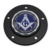 Motordog69 Black 5-hole Timing Cover Coin Mount with Masonic Coin