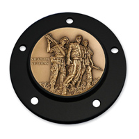 Motordog69 Black 5-hole Timing Cover Coin Mount with Vietnam Veteran Coin