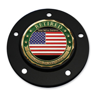 MotorDog69 Black 5-hole Timing Cover Coin Mount with Retired Army Coin