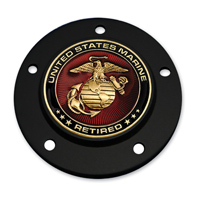 Motordog69 Black 5-hole Timing Cover Coin Mount with Retired Marine Coin