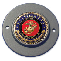 Motordog69 Black 2-hole Timing Cover Coin Mount with Veteran Marine Coin