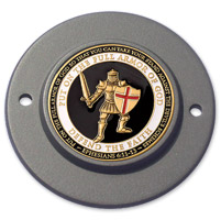 Motordog69 Black 2-hole Timing Cover Coin Mount with Armor of God Coin