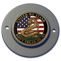 Motordog69 Black 2-hole Timing Cover Coin Mount with Don't Tread on Me Coin