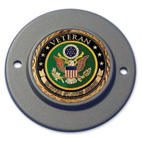 Motordog69 Black 2-hole Timing Cover Coin Mount with Veteran Army Coin
