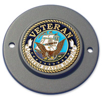 Motordog69 Black 2-hole Timing Cover Coin Mount with Veteran Navy Coin