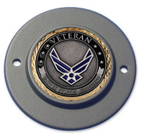 MotorDog69 Black 2-hole Timing Cover Coin Mount with Veteran Air Force Coin