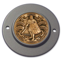 MotorDog69 Black 2-hole Timing Cover Coin Mount with Armor of God Brass Coin