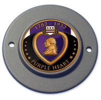 MotorDog69 Black 2-hole Timing Cover Coin Mount with Purple Heart Coin