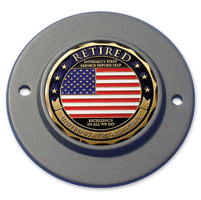 Motordog69 Black 2-hole Timing Cover Coin Mount with Retired Air Force Coin