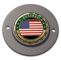 Motordog69 Black 2-hole Timing Cover Coin Mount with Retired Army Coin