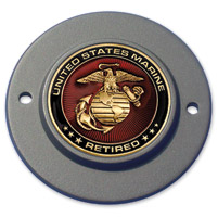 Motordog69 Black 2-hole Timing Cover Coin Mount with Retired Marine Coin
