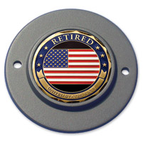 MotorDog69 Black 2-hole Timing Cover Coin Mount with Retired Navy Coin