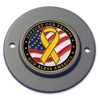Motordog69 Black 2-hole Timing Cover Coin Mount with Support the Troops Coin