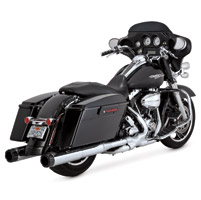 Vance & Hines Chrome Hi-Output Slip-On Mufflers with Black Carbon Tips