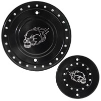 Whitewall Choppers Flaming Skull Engine-Derby Cover Set