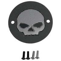 Drag Specialties 2-Hole Wrinkle Black Skull Accent Points Cover