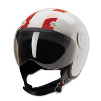 HCI-15 Stripe White and Red Open Face Helmet