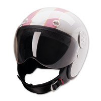 HCI-15 Stripe White and Pink Open Face Helmet