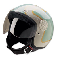HCI-15 Stripe Green and Gold Open Face Helmet