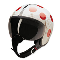 HCI-15 Lady Bug White and Red Open Face Helmet