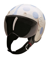 HCI-15 Lady Bug White and Blue Open Face Helmet