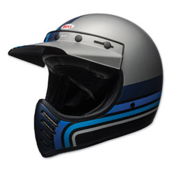 Bell Moto-3 Stripes Silver/Black/Blue Full Face Helmet