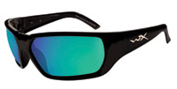 Wiley X Brick Goggles/Sunglasses with Gloss Black Frames and Polarized Emerald Mirror (Amber) Lenses