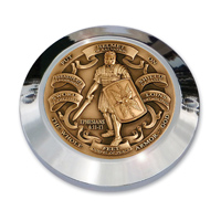 """MotorDog69 Set Screw Timing Cover Coin Mount with """"Armor Of God Brass"""" Coin"""
