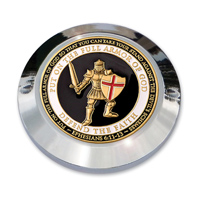 "MotorDog69 Set Screw Timing Cover Coin Mount with ""Armor Of God"" Coin"