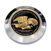"MotorDog69 Set Screw Timing Cover Coin Mount with ""Thank You Troops"" Coin"