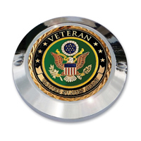 "MotorDog69 Set Screw Timing Cover Coin Mount with ""Veteran Army"" Coin"