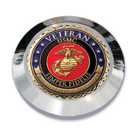 "MotorDog69 Set Screw Timing Cover Coin Mount with ""Veteran Marine"" Coin"