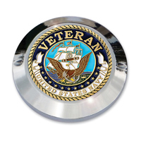 "MotorDog69 Set Screw Timing Cover Coin Mount with ""Veteran Navy"" Coin"