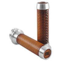 Brass Balls Cycles Leather Honeycomb Moto Grips Natural/Tan