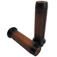 Brass Balls Cycles Leather Ribbed Moto Grips Black/Tan