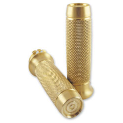 Brass Balls Cycles Knurled Moto Grips Gold