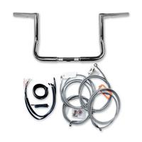 LA Choppers 1-1/4″ Chrome 14″ Bagger Ape Hanger Stainless Braided Handlebar Kit