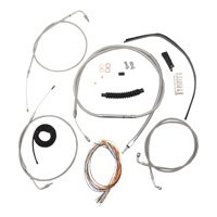 LA Choppers Stainless Complete Cable/Line/Wiring Handlebar Kit for 12″-14″ Bars