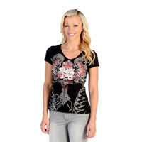 Liberty Wear Women's Freedom Rose V-Neck Black Top