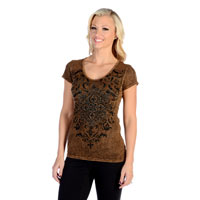 Liberty Wear Women's Vintage Crystals Brown T-Shirt
