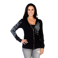 Liberty Wear Women's Vintage Crystals Black Hoodie