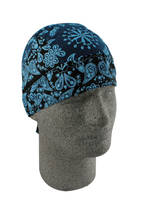 ZAN headgear Two-Tone Ice Blue Paisley Flydanna Head Wrap