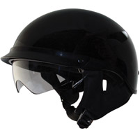 Zox Alto DDV Gloss Black Half Helmet with Drop Down Visor
