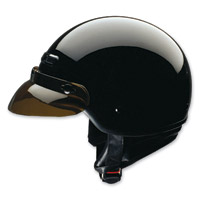 HCI-40 Black Half Helmet with Storm Curtain