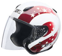 Z1R Ace Starbrite White and Red Open Face Helmet