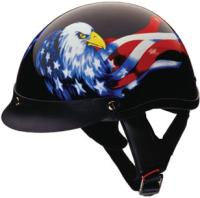 HCI-100 Designer Double Eagle Black Half Helmet
