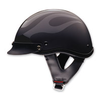 HCI-100 Designer Flat Flame Tribal Black Half Helmet