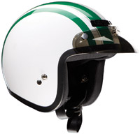 Z1R Jimmy Retro White and Green Open Face Helmet