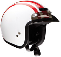 Z1R Jimmy Retro White and Red Open Face Helmet