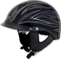 AFX FX-200 Pinstripe Gloss Black and Silver Half Helmet